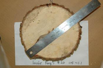 Measure of diameter in a wood core sample