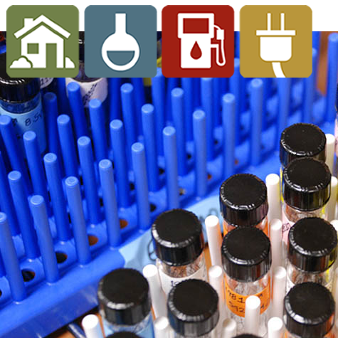 Chemical bottles in the lab